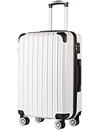 """Luggage Expandable(only 28"""") Suitcase PC+ABS Spinner 20in 24in 28in Carry on (white grid new, L(28in))"""