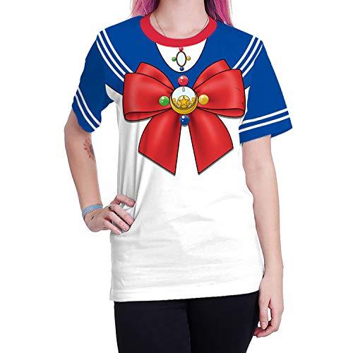 BOMBAX Women Girls Short Sleeve Sailor Moon T-Shirt Tops Anime Cosplay Costume