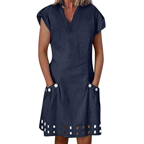 Pink Dress Elegant,Women Casual V-Neck Ruffled Pockets Lace Shift Daily Buttoned-Decor Dresses,Navy,S