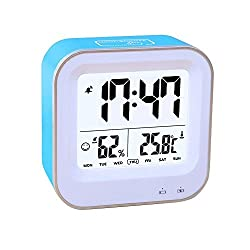 Bedroom 3 in1 Multifunction Alarm Clock, Rechargeable Alarm Clock with 12h or 24h/Temperature(C/F)/Humidity/Week Display, Snooze/Smart Nightlight Function (9909-Blue)