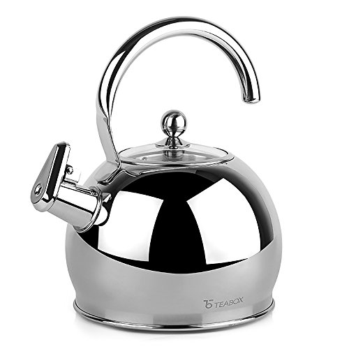 Glass Stovetop Whistling Kettle (Teabox Camber Stainless Steel Tea Kettle (Large, Glass Lid, Stovetop Tea Kettle, Whistling Kettle, Capsulated Base, 85 fl oz))