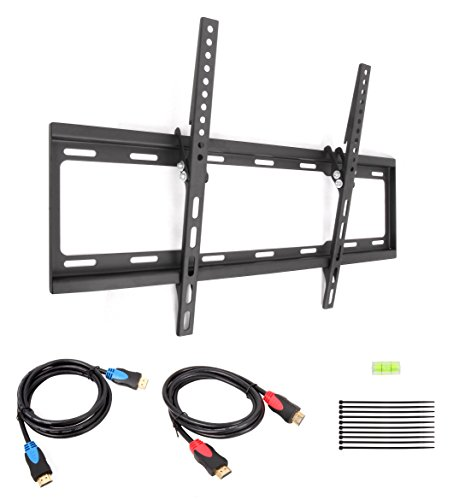 Cable Matters Tilt TV Wall Mount for 37-70 inch LCD/LED with Twin-Pack 6 Feet High Speed HDMI Cable