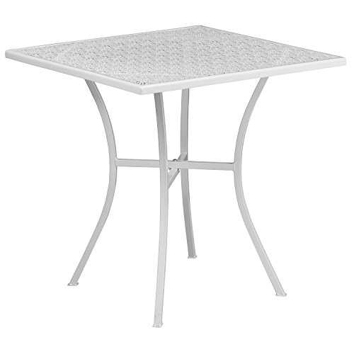 (Flash Furniture 28'' Square White Indoor-Outdoor Steel Patio Table)