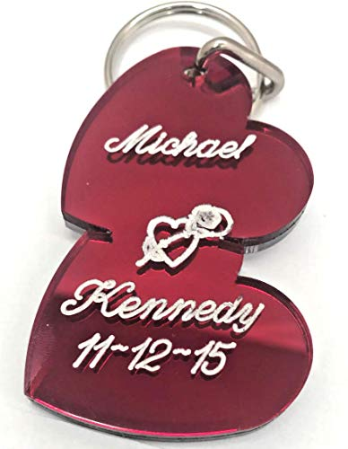 Double Heart Couple Keychain Personalized Custom Name Free Engraved Double Heart key chain Any Name Personalized Key Ring - A Perfect Gift