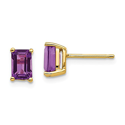 14k Yellow Gold 6x4mm Purple Amethyst Post Stud Earrings Gemstone Fine Jewelry Gifts For Women For ()