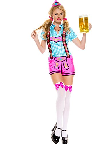 MUSIC LEGS Women's Lady Lederhosen, Blue/Pink, Medium/Large (Ladies Lederhosen Fancy Dress)