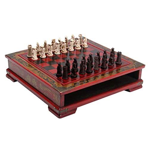 TOYANDONA 1 Juego de Tablero de Ajedrez de Madera Juego de Damas Vintage Chessbase Juguete de Educación Temprana con…