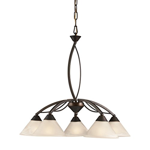 Alumbrada Collection Elysburg 5 Light Chandelier In Oil Rubbed Bronze And White -