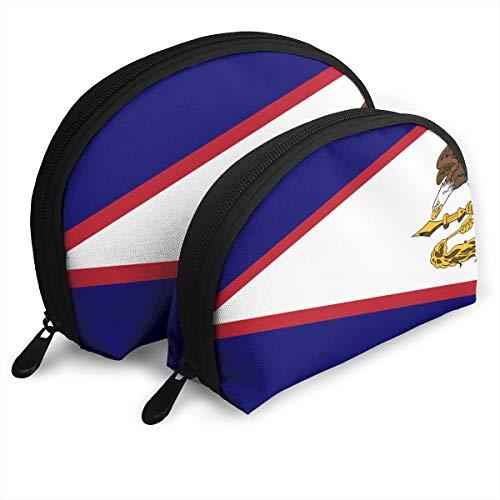 (DF039ht20 Flag Of American Samoa Shell Shape Zipper Cosmetic Bags,Travel Bag,Makeup Holder Case (2-Pack))