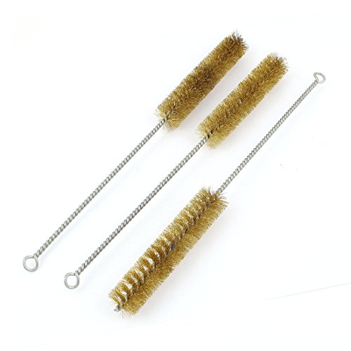 uxcell 30cm Length 25mm Diameter Brass Wire Tube Cleaning Brush 3 Pcs
