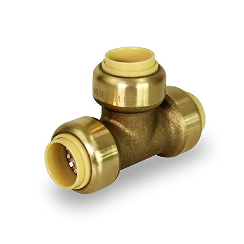- Pushlock UPET34 Tee Pipe Fittings Push to Connect Pex Copper, CPVC, 3/4 Inch, Brass