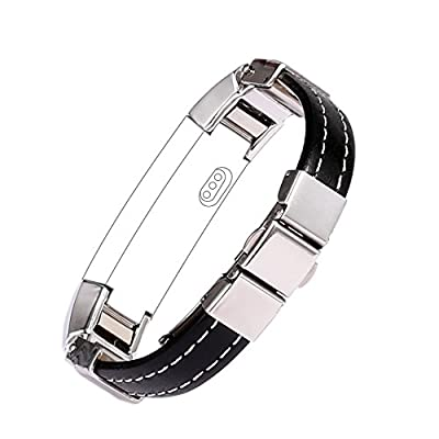 bayite Leather Bands for Fitbit Alta, Silver Metal and Leather
