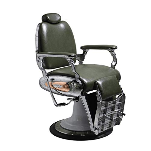Como Barber Chair, Hydraulic Recline Barber Chairs,Salon Chair,Tattoo Chair,Heavy Duty Barber Salon Equipment (Green and Red)