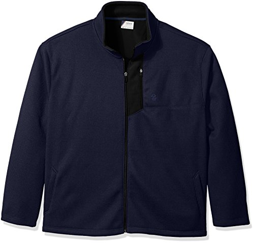 IZOD Men's Big and Tall Advantage Performance Long Sleeve Full Zip Soft Touch Fleece Jacket, Blue Peacoat - Soft Advantage Jacket