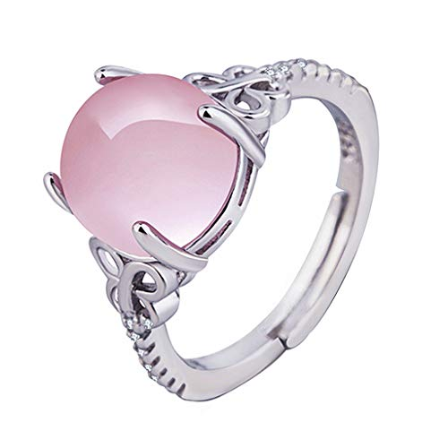Silver Plated Tiffany Style Keychain - kolo FINE Women Ring, Hibiscus Stone Ring Pink Crystal Adjustable Morgan Stone Plated Diamond Orange Powder Unique Colored Zircon Size Adjustable Retro Crystal Stainless for Girl Lady (B)