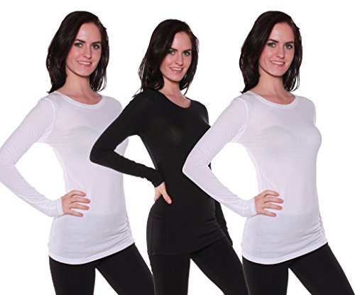 Wht Neck - Active Basic Women's Long Sleeve Crew Neck T Shirt(2 Wht/1 Blk-L)