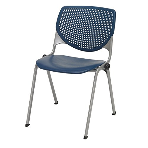 (KFI Seating Kool Series Polypropylene Stack Chair with Perforated Back, Navy Finish)