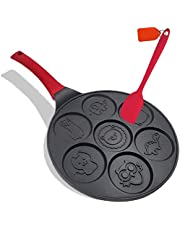 Pancake Pan Molds Pancake Maker Non-stick Pancake Griddle 10 Inch Griddle Grill Pan Mini Crepe Maker 7-Mold Pancakes with Silicon Handle, Black Animal