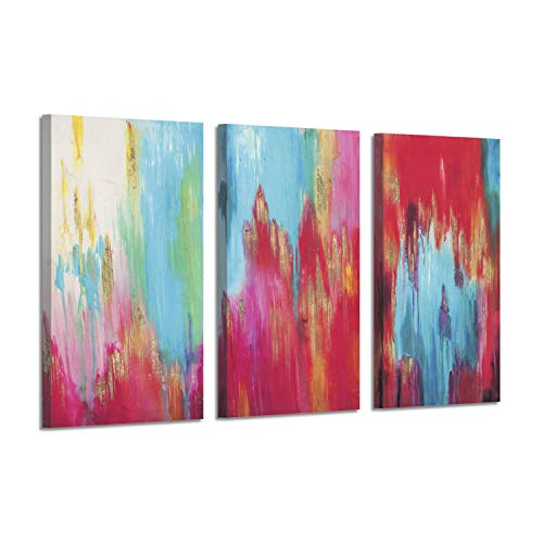 Abstract Artwork Seasons Art Picture: Modern Watercolors Gold Foil Print on Canvas