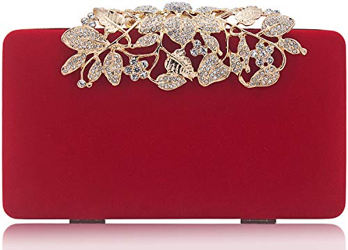 (Womens Evening Bag with Rhinestone Crystal Flower Closure Velvet Clutch Purse for Wedding Party Red)