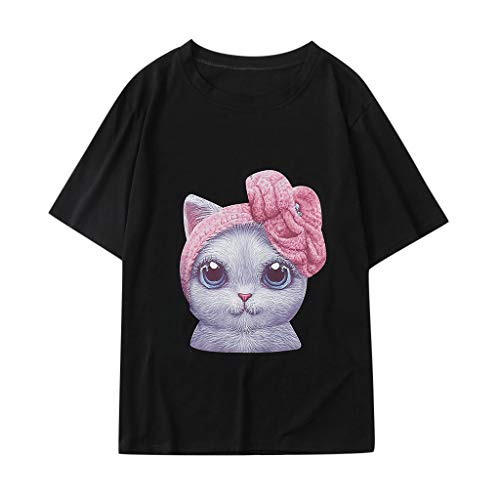 Londony♪ Women Summer Funny Print Short Sleeve Top Tee Graphic Cute T-Shirt Casual Loose Tunic Blouses Teen Girls Tops (Best Long Jump Spikes 2019)