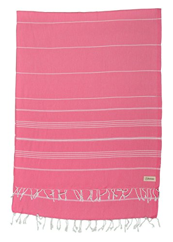 Bersuse 100% Cotton - Anatolia XL Throw Blanket Turkish Towel Pestemal - Bath Beach Fouta Peshtemal - Multipurpose Bed or Couch Throw, Table Cover or Picnic Mat - Striped - 61X82 Inches, Pink ()