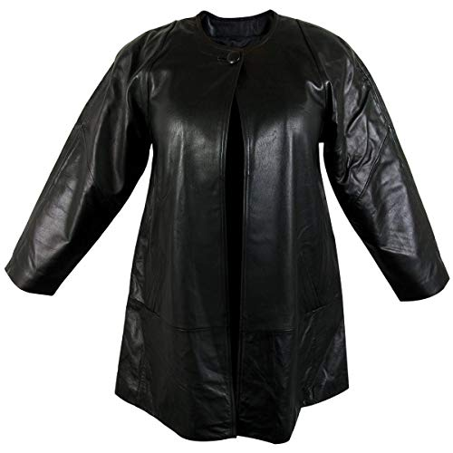 Ladies Lucky Leather 83 Soft Touch Supple Lambskin Collarless Leather Coat with One Button Collar - Medium