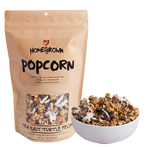 Homegrown Popcorn | Made with GMO FREE Corn & Popped with Coconut Oil | Handmade Small Batches, Gluten Free & No Trans Fats (Sea Salt Turtle Pecan)