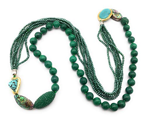 10mm Natural Stone Gemstone Long Beaded Glass Tassel Statement Necklace Multi Layered Multi-Strand Cubic Zircon Crystal Abalone Shell Turquoise Charms Pendant Jewelry (Synthetic Green Turquoise)