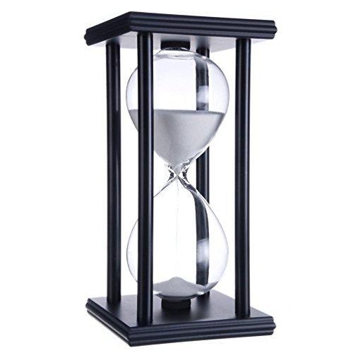 Hourglass 60 Minutes Kitchen Sand Timer Clock Home Decration Office Desk Ornament Sandglass (Black Frame White Sand)