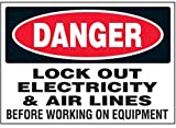 Vinyl Lock-Out Labels - Danger Lock Out Electricity - 5''h x 7''w, White DANGER LOCK OUT ELECTRICITY & AIR LINES BEFORE WORKING ON EQUIPMENT - Super-Stik Adhesive