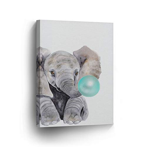 Cute Baby Elephant Animal Bubble Gum Art Teal Blue Canvas Print Watercolor Painting Wall Art Home Decoration Pop Art Kids Room Decor Stretched Ready to Hang-%100 Handmade in The USA - 12x8 by Smile Art Design