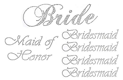 Lot of 6 Rhinestone Wedding Iron on Transfer (1 Bride) (1 Maid of Honor) (4 Bridesmaid)