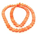 1 Strand Orange Cat's Eye Fiber Optic Glass 6x6mm Flat Heart Beads for Jewelry Making, Supply for DIY Beading Projects