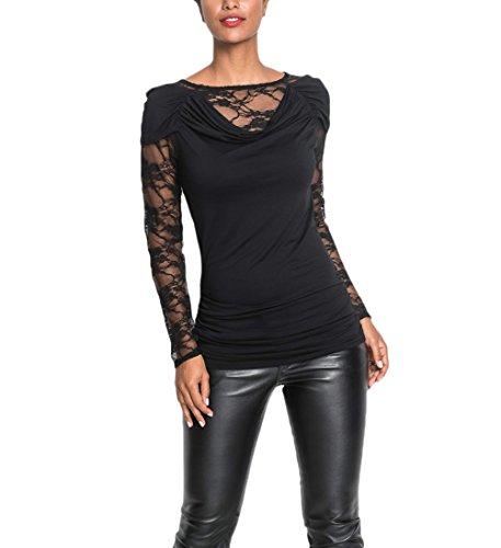 Top Pizzo Moda T Basic Lunga Donna Grazioso Stlie Hip Elegante Bluse Manica In Vintage Slim Fit Nero shirt Hop Casual Blusa wzfqztUx