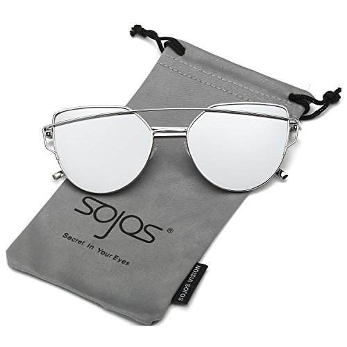 SojoS Cat Eye Mirrored Flat Lenses Street Fashion Metal Frame Women Sunglasses SJ1001 With Silver Frame/Silver Mirrored - Sellers Best Sunglasses