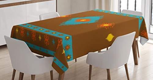 Native American Tablecloth by Ambesonne, Ethnic Geometric Design Aztec Inca Native Tribal Cultural Artwork, Dining Room Kitchen Rectangular Table Cover, 60W X 90 Inches, Dark Orange Aqua Red (Geometric Native Designs American)