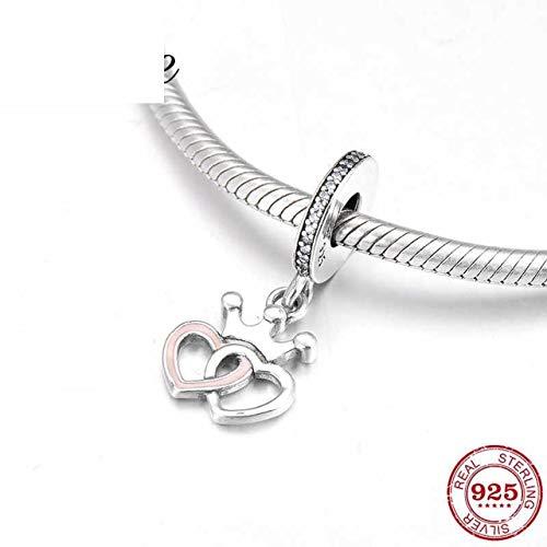 Queen Crown Tiara Double Heart 925 Sterling Silver Pink Enamel Fine Pendants Beads Fit Original Charm Bracelet Jewelry Making