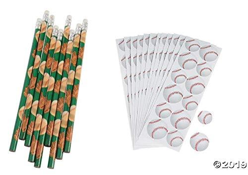 (Baseball Party Favors ~ 1DZ (12) Baseball Pencils & 12 Baseball Sticker Sheets (144 Stickers) Party giveaway Goody bag Sports Theme )