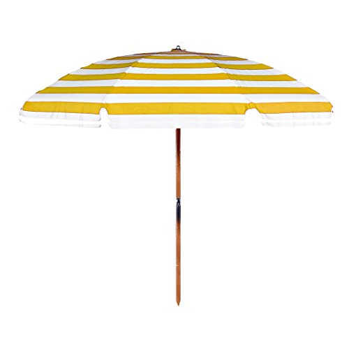 7.5 ft. Fiberglass Rib Commercial Grade Beach Umbrella with Ash Wood Pole (Yellow/White Stripe, Add Valance/Add Vent/Add Bag/No Hook) ()