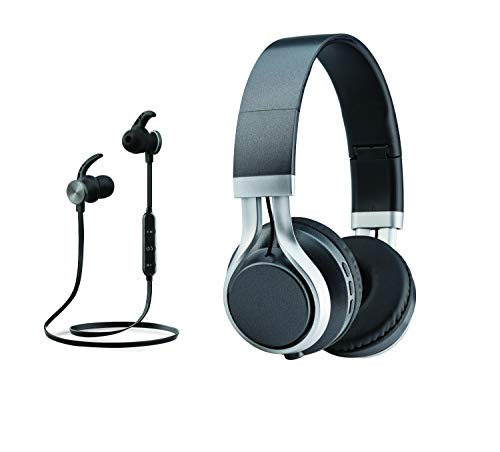 Headphone & Earbud Combo Set, Combo Set Bluetooth Wireless Handsfree Headset In-Ear & Over the Ear 2-in-1 Deal, Built-in Mic for Calling, HD Sound Combination Pack, Birthday Gift Present (Black)