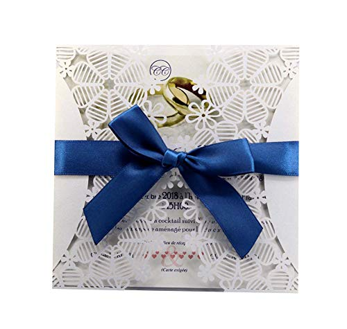 Wedding Invitation Card Personalized Laser Cut Romantic Party Floral Lace Blank Pages & Envelopes 100Pcs