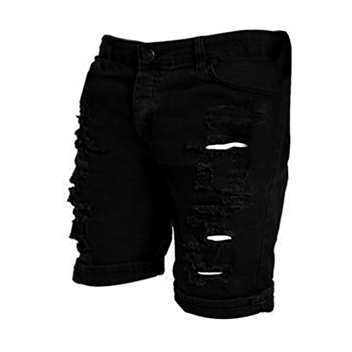 iZHH Men's Casual Jeans Destroyed Knee Length Hole Ripped (Knee Length Pants)