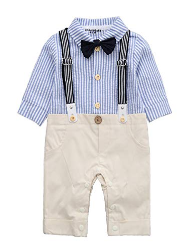 HMD Baby Boy Blue Stripe Long Sleeve Shirt Bowtie Tuxedo Onesie Jumpsuit Romper (Khaki, 9-12 M)