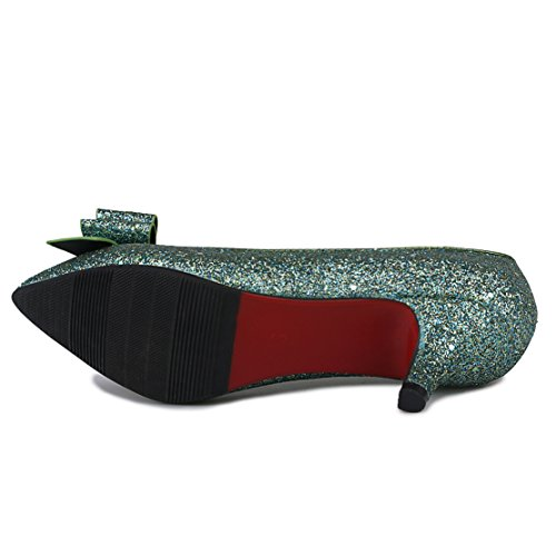 Slip on Green Shoes Bows with Kitten Women's Heel Glitter Pumps AIYOUMEI PqA7waCw