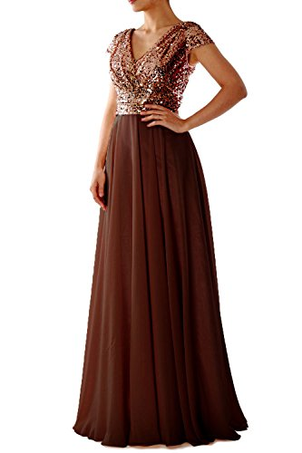 MACloth Cap Sleeve V Neck Sequin Chiffon Bridesmaid Dress Formal Evening Gown Bronze