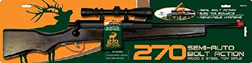 Solid Wood, Steel & Plastic Bolt Action 270 Rifle with Scope and a Magazine That Holds 3 Imitation Bullets