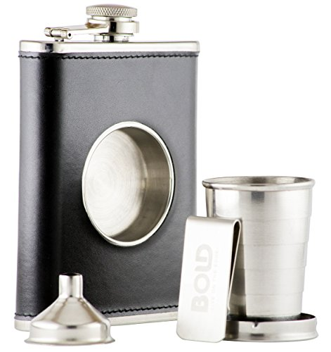 8 Oz. 304 Stainless Steel, Black Leather Hip Flask, Shot Flask with Built-in Collapsible 2 Oz. Shot Cup, Bonus Stainless Steel Funnel and Money Clip by Bold Brands