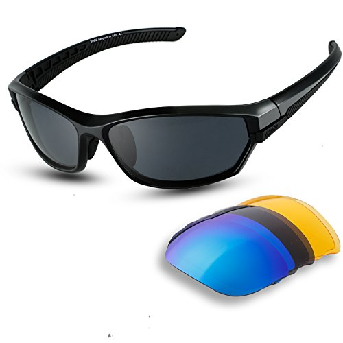 DUCO Polarized Sports Mens Sunglasses for Ski Driving Golf Running Cycling TR90 Super Light Frame with 3 Sets of Interchangeable Lenses 6216