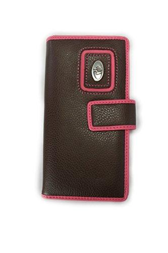 Mossy Oak Leather Pink Brown Bi Fold Wallet Woman's Mossy Oak Pink Trim (Mossy Oak Bi Fold Wallet)